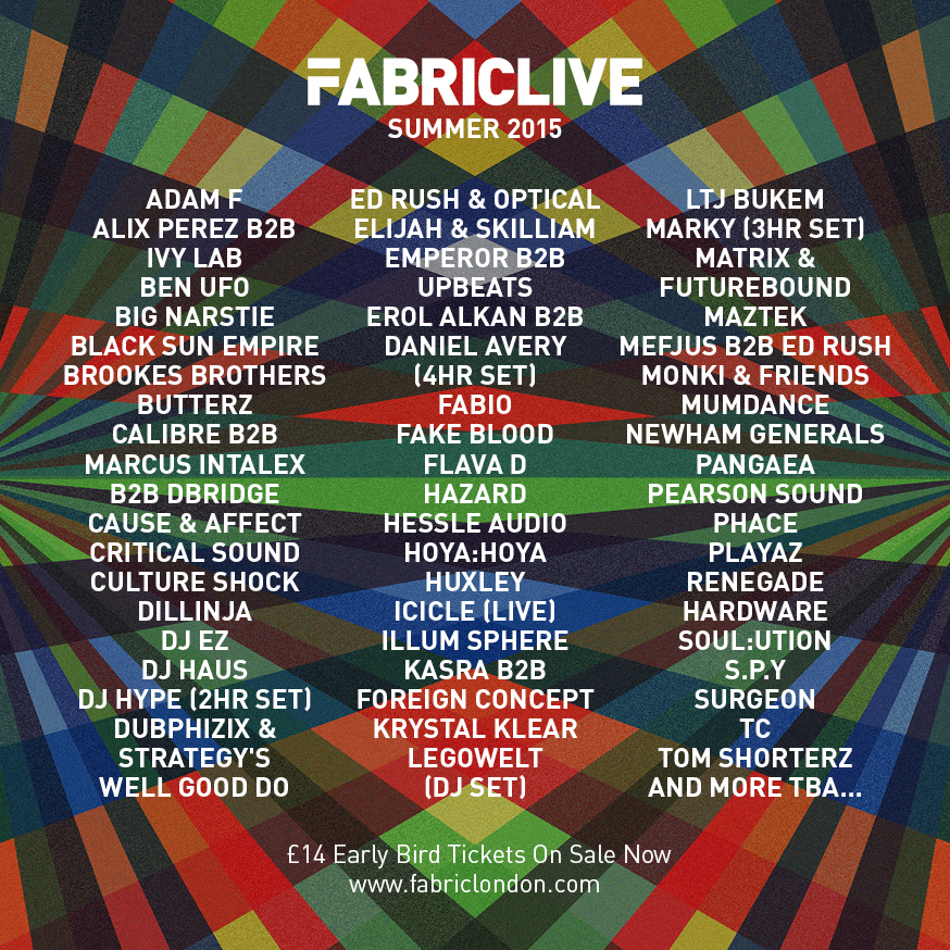 FABRICLIVE SUMMER SEASON 2015